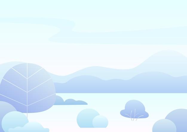 Paysage d'hiver de dessin animé simple fantastique, nature dégradée moderne.