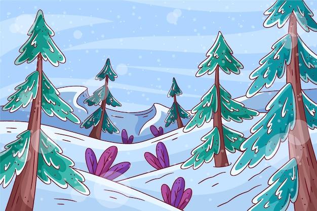 Paysage d'hiver dessiné à la main avec des arbres