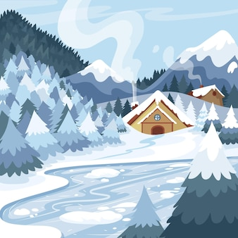 Paysage d'hiver dessiné à la main