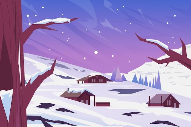 Paysage D'hiver Dessiné à La Main Vecteur gratuit