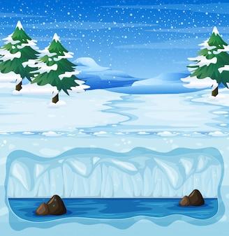 Un paysage d'hiver enneigé et souterrain