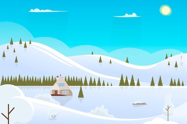 Paysage D'hiver Ensoleillé De Noël Vecteur Premium