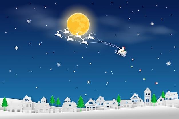 Paysage d'hiver sur fond bleu nuit