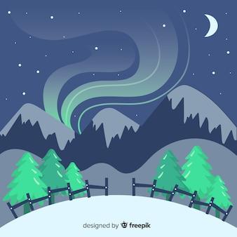 Paysage d'hiver de fumée de montagne