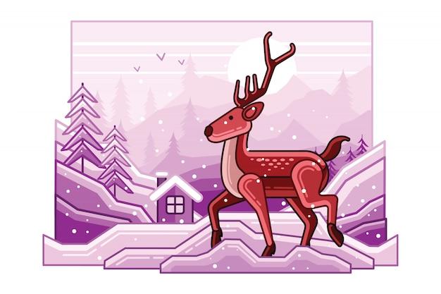 Paysage d'hiver avec illustration de ligne de cerf