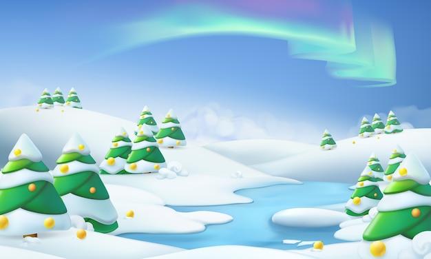 Paysage d'hiver. illustration de noël. illustration vectorielle 3d