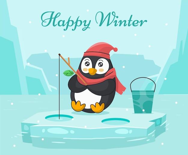 Paysage d'hiver avec illustration plate de pingouin