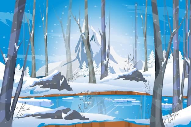 Paysage d'hiver avec lac gelé dans la neige blanche de la forêt et les arbres le temps de noël