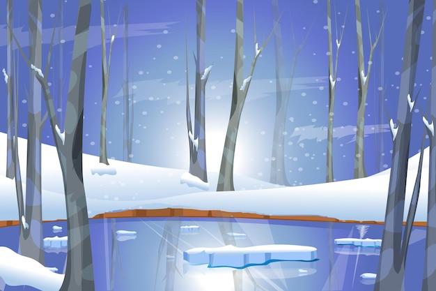 Paysage d'hiver avec lac gelé en forêt noël neige et arbres blancs