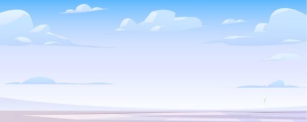 Paysage d'hiver avec lac gelé et nuages