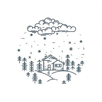 Paysage d'hiver linéaire plat en composition ronde