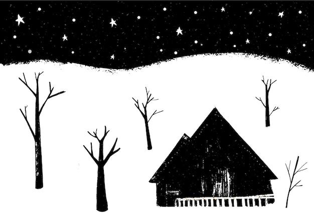 Paysage d'hiver, maison individuelle en forêt, scène de nuit avec des chutes de neige.