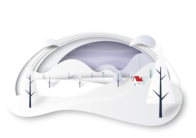 Paysage d'hiver avec maison et montagnes papier découpé