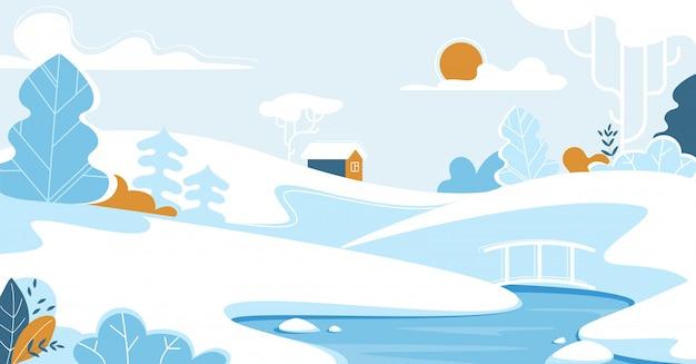 Paysage d'hiver avec maison solitaire ou chalet.