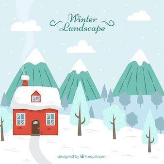 Paysage d'hiver avec maison
