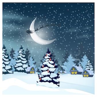 Paysage d'hiver avec des maisons, père noël dans le ciel nocturne