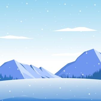 Paysage d'hiver avec la montagne