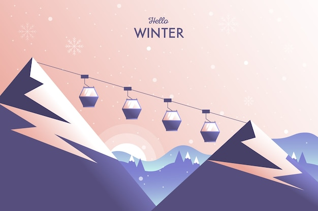 Paysage d'hiver avec montagnes et câble