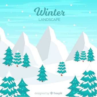 Paysage d'hiver de montagnes enneigées