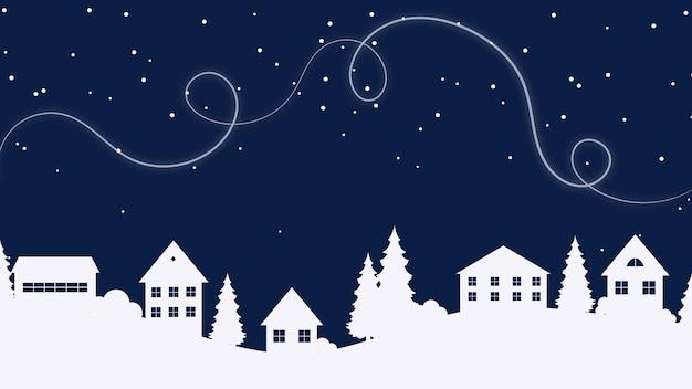 Paysage d'hiver avec de la neige paysage de nuit de noël paysage de nuit d'hiver fond de noël