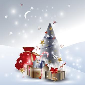 Paysage d'hiver de noël avec des arbres de noël, des cadeaux, des flocons de neige