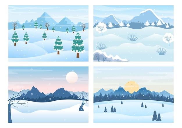 Paysage d'hiver de noël et illustration vectorielle de fond de nouvel an