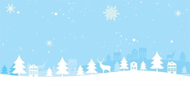 Paysage d'hiver noir et or avec sapins, neige, cerfs, maisons. fond de joyeux noël et bonne année