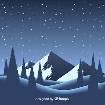 Paysage d'hiver de nuit
