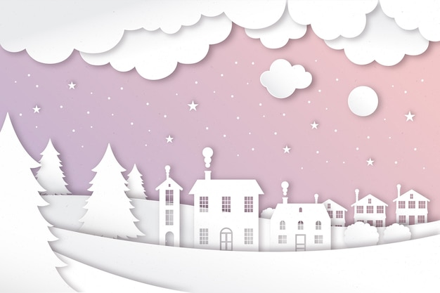 Paysage d'hiver en papier