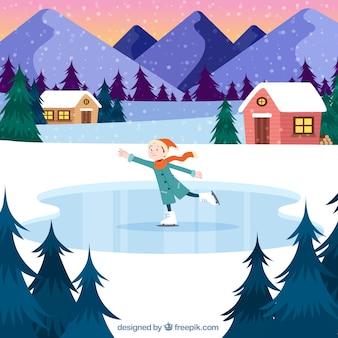Paysage d'hiver avec patin à glace garçon
