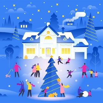 Paysage d'hiver avec des personnes minuscules marchant dans une rue de banlieue et effectuant des activités de plein air.