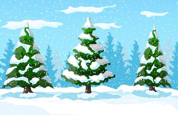Paysage d'hiver avec des pins blancs sur la colline de neige