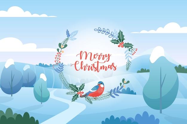 Paysage d'hiver avec des salutations de noël. style de dessin animé plat. joyeux noel et bonne année.