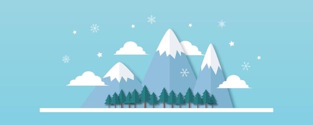 Paysage d'hiver avec sapins et neige. fond de noël. pour le dépliant de conception, la bannière, l'affiche, l'invitation