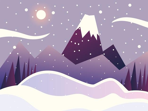 Paysage d'hiver scène nature montagnes arbres ciel illustration