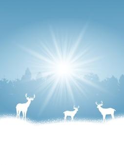 Paysage d'hiver avec des silhouettes blanches de cerfs