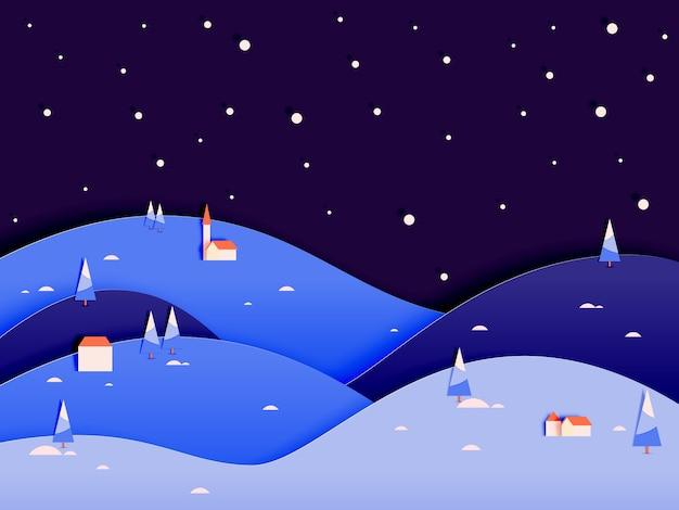 Paysage d'hiver avec style art papier et illustration vectorielle régime de couleurs pastel