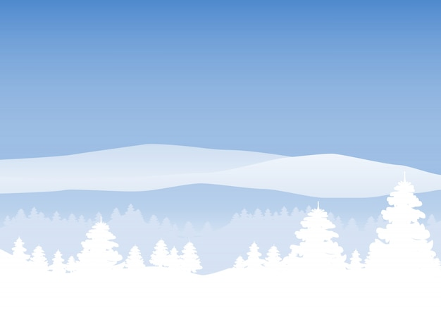 Paysage d'hiver, style minimal.