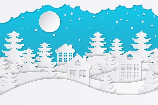 Paysage d'hiver en style papier