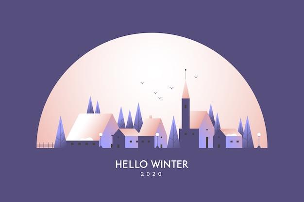 Paysage d'hiver avec ville dans la nuit
