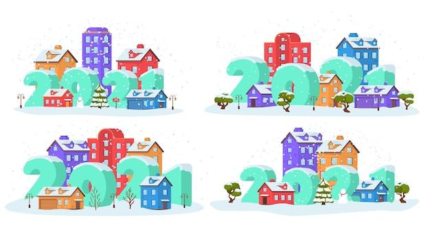 Paysage d'hiver en ville la veille de noël