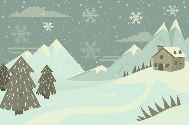Paysage d'hiver vintage dessiné