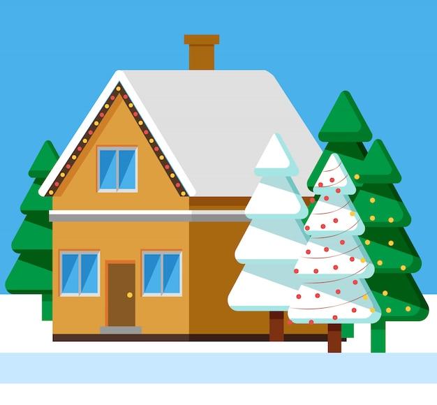 Paysage d'hiver en zone rurale, maison avec neige
