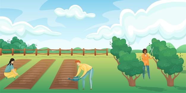 Paysage horizontal d'un champ avec des lits et un jardin de fruits et baies.