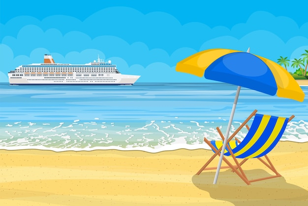 Paysage d'îles et de plage. navire de croisière. illustration dans un style plat