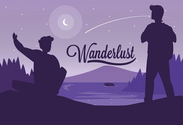 Paysage d'illustration avec montagnes et voyageurs wanderlust