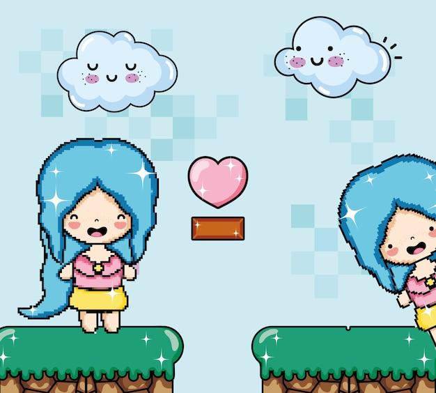 Paysage imaginaire de jeu vidéo pixélisé avec dessin animé princesse