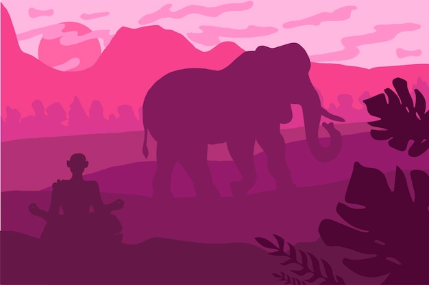 Paysage indien avec éléphant et yog. panorama de la faune tropicale. scène naturelle. coucher de soleil rose. vecteur