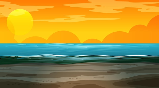 Paysage inondé vierge au coucher du soleil scène