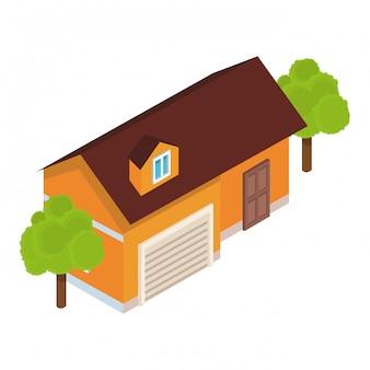 Paysage isométrique de la maison